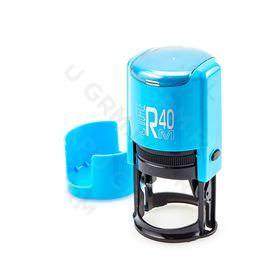 GRM R 40 office+BOX - Black Edition. Автоматическая оснастка для печати, корпус голубой-чёрный глянец